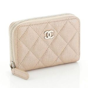 Chanel Quilted Zip Coin Purse in Iridescent Caviar